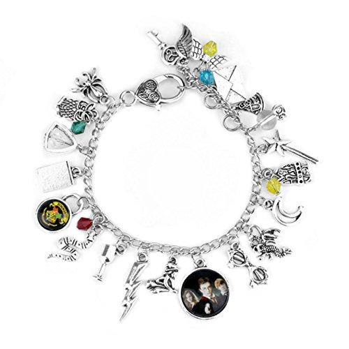 Harry Potter Themed Silvertone Charms Bracelet