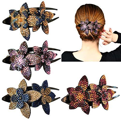 4 Stück Strass Haarspange Double Flower , mit Kristall Entenschnabel Clip Mode Damen Strass Blume Metall Haarnadel ohne Rutschen für Damen Mädchen