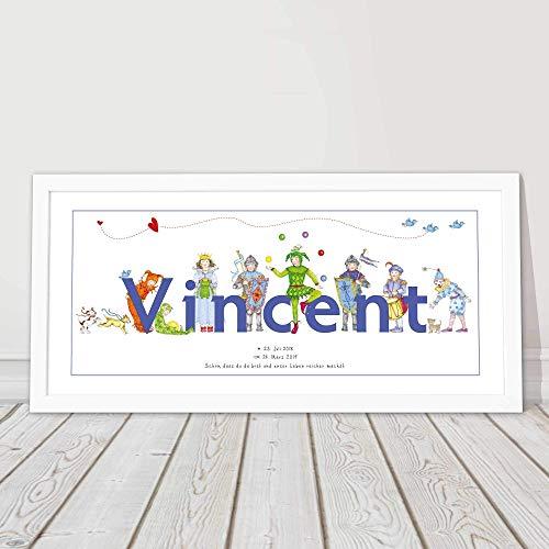 Baby Geschenk, Namensbild, Geburt, Mädchen, Taufgeschenk Junge, Taufspruch, personalisiertes Bild gerahmt, Kinderzimmerbild