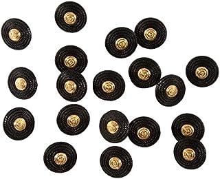 LEDUC Buttons 黄铜效果中心设计,黑色,20 件