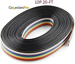 Pc Accessories - Connectors Pro 20 Feet IDC 10P 1.27mm Rainbow Color Flat Ribbon Cable 10 Conductors for 2.54mm Connectors 20-ft Pack