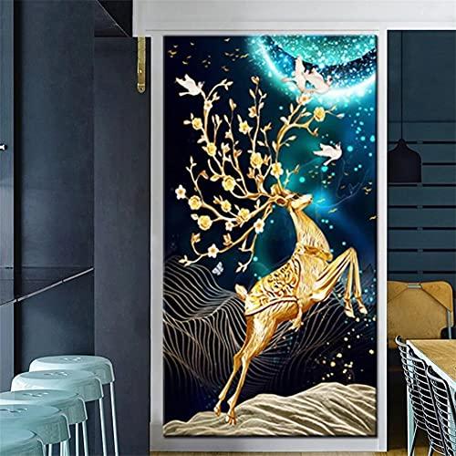 DIY 5D Large Diamond Painting Ciervo dorado Kits de Perforación Completos Rhinestone Picture Art Craft para decoración de la Pared del hogar 60x180cm Round Drill