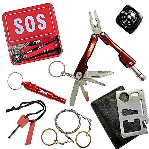 Mini kit de supervivencia de herramientas | Kit de emergencia | Caja de salvamento automático | Estuche de emergencia | ideal para supervivencia en aventura de camping y medio salvaje al aire libre