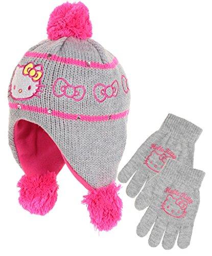 Bonnet péruvien et gants enfant fille Hello kitty Noir, Gris et Rose de 3 à 9ans (54 (6-9 ans), Gris/rose foncé)