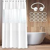 Duschvorhang 180x200, Shower Curtains Duschvorhänge Anti-Schimmel Badevorhang - Wasserdichter Badezimmervorhang mit Bandage - Weiß