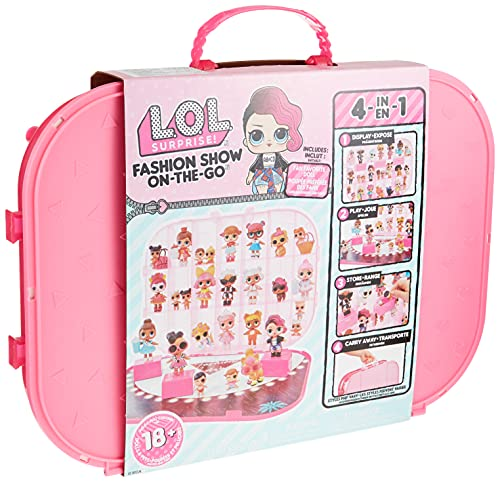 LOL Surprise Fashion Show On-The-Go 4-in-1 Playset and Carrying Case – Display 18+ dolls and Pets Creativity for Kids - Hot Pink Play Set Storage Fashion Studio