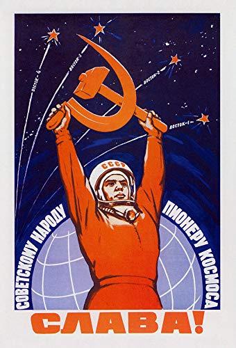 Tainsi Sowjetunion Propaganda Raumfahrt, russischer Text (Lang lebe das sowjetische Volk: die Raumfahrt-Pioniere), 1959, Valerin Viktorov-Poster,12x18inches,30x46cm