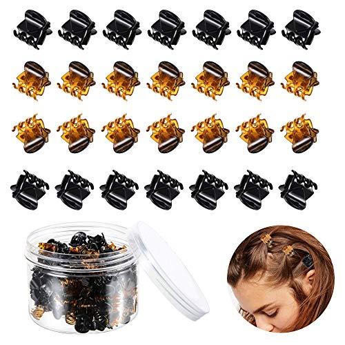 HO2NLE 100 Stücke Mini Haarklammer Kunststoff Haargreifer Klein Haarspangen Damen Haarklammern mit Box für Mädchen Frauen Schwarz und Braun