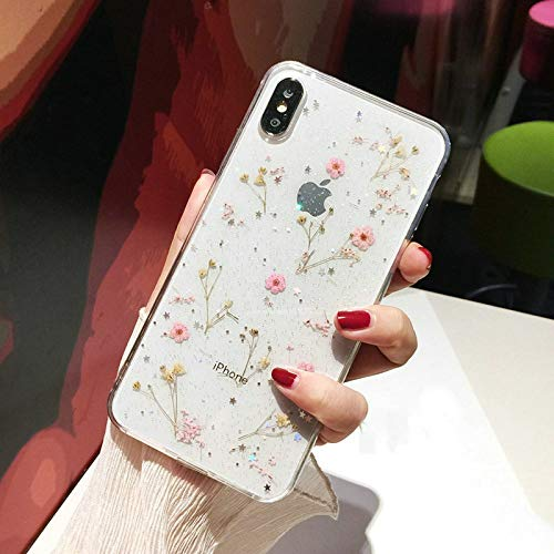 Shinymore iPhone 11 Flower Case, Soft Clear Flexible Rubber Pressed Dry Real Flowers Case Girls Glitter Floral Cover for iPhone 11-Pink