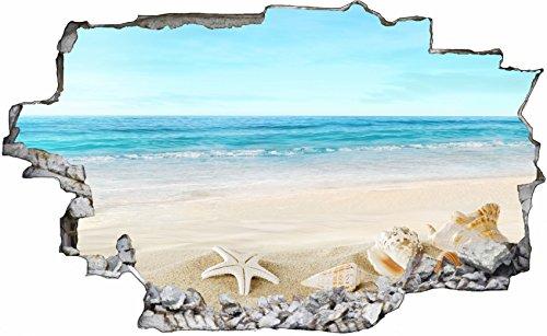DesFoli Strand Meer Beach 3D Look Wandtattoo 70 x 115 cm Wand Durchbruch Wandbild Wandsticker Deko Sticker Aufkleber C338