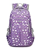 Fanci Candy Color Heart Prints Primary Middle High School Backpack Bookbags for Girls Junior Elementary School Book Bag Shoulder Back Pack Rucksack