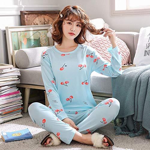 Cartoon-Pyjamas für Damen mit rundem Hals Lässige Herbst- und Winter-Pyjamas für Damen im Pyjamaset