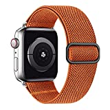 MEULOT Stretchy Braided Solo Loop Band Compatible with Apple Watch Band 38mm 40mm 42mm 44mm Adjustable Nylon Elastic Sport Women Men Strap Compatible with iWatch Series 6/5/4/3/2/1 SE Orange 38/40S