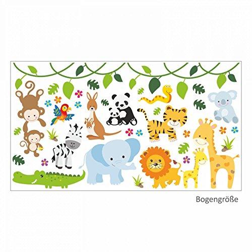 nikima - 013 Wandtattoo Baby Tiere Löwe Elefant Giraffe AFFE - in 6 Größen - Kinderzimmer Sticker Babyzimmer Wandaufkleber niedliche Wandsticker süße Wanddeko Wandbild Junge Mädchen (1000 x 560 mm)