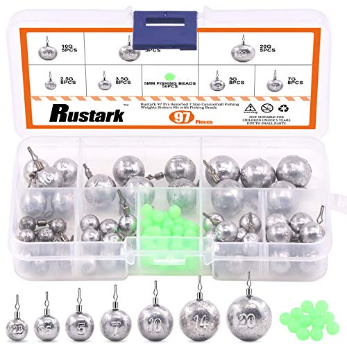 Rustark 97 Pcs Assorted 7 Size Cannonball Fishing Weights Sinkers Kit with Fishing Beads, Drop Shot Weights Rig Kit with Free Tackle Box for Bass Fishing Saltwater (2.5g, 3.5g, 5g, 7g, 10g, 14g, 20g)