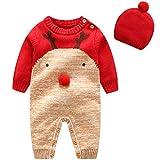 Bebe Mameluco Niños Jersey Navidad Mono - Pijama Invierno Bebé Niñas Algodón Conjunto de Ropa con Gorra Cálido Manga Larga Suéter Traje de Dormir Onesie