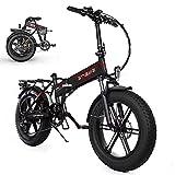 Bicicleta eléctrica Plegable de 26 Pulgadas 250W 48V 15Ah Bicicleta eléctrica para Adultos Bicicleta eléctrica con Control Remoto 6 Palanca de Cambio de Marchas (Negro)
