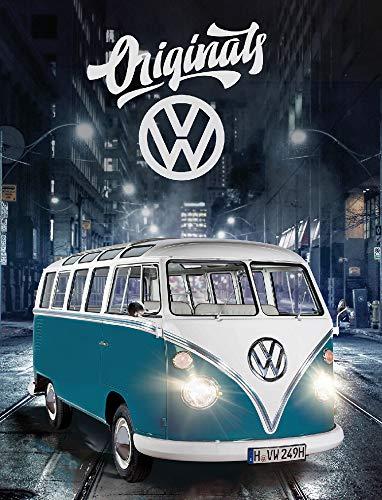 Große VW Volkswagen Fleece-Decke Bulli T1 Blau 130 x 170 cm Camper-Van California Bus Auto Car Decke Kuscheldecke Tagesdecke Wohndecke Tagesdecke Schmusedecke Flauschdecke pass. zur Bettwäsche 087