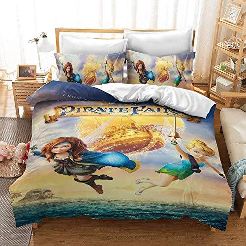 XZHYMJ duvet cover set Disney bedding set Tinkerbell Elf duvet cover 3D digital pattern soft microfiber three-piece cover duvet cover and pillowcase06_King 220X240CM
