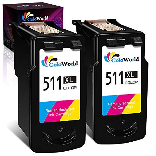 ColoWorld Remanufacturados 511 511XL Tricolor Cartuchos de tinta de para Canon CL-511 XL para Canon Pixma MP495 MP250 MP270 MP280 MP480 MP490 MP230 iP2700 MX320 MX350 MX410 MP240 Impresora(2 Paquetes)