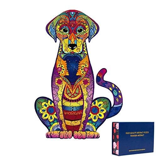 """Wooden Puzzles for Adults,Wooden Animals Shaped Puzzles,Unique Shaped Jigsaw Puzzles,Magic Wooden Jigsaw Puzzles, Wood Puzzles Adult, Unique Puzzles (S-9.25""""x6.3"""", Labrador)"""