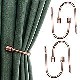 HOHAOO - Juego de 4 ganchos para colgar en la pared, diseño de U, alzapaños de cortina, soportes de pared, tratamiento de ventanas con tornillos (cobre rojo)