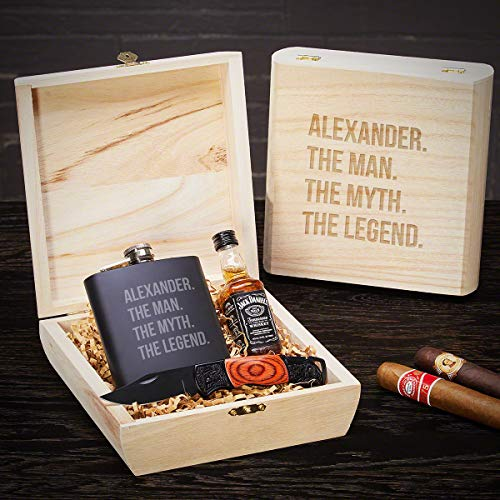 The Man The Myth The Legend Custom Blackout Flask Gift Box (Personalized Product)