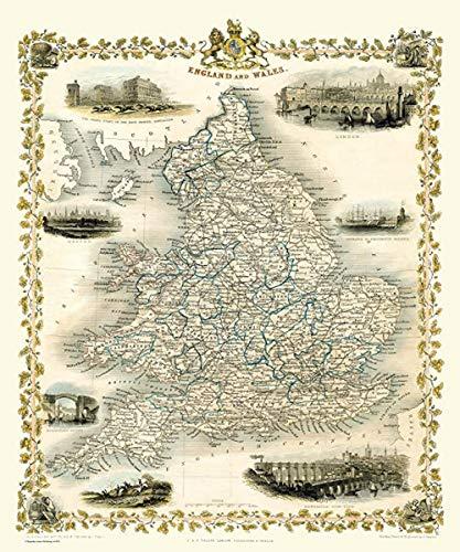 JYTD 1000-teilige Puzzle-Karte von England und Wales 1851 von John Tallis 75 * 50CM