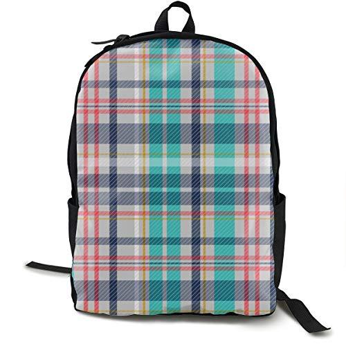 Klassischer Rucksack, Liegestuhl, kariert, grau, mehrere lässige Schultasche, große Kapazität, Laptop-Tasche für Teenager, Damen, Herren, Reisen, Wandern