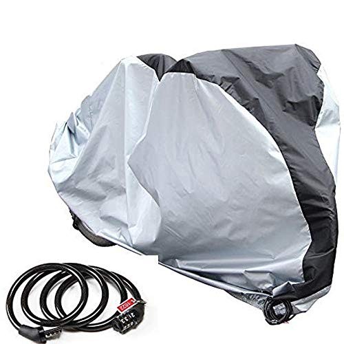 PAMASE Waterproof Bicycle Cover for 2 Bikes Outdoor Storage with Free Lock - 190T Polyester Cloth - Rain Sun Protection & Anti-UV-Sliver