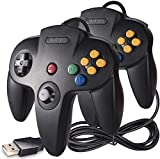 2 Pack N64 Classic USB Controller, kiwitatá Retro N64 Bit USB Wired PC Controller Joystick for Windows XP 7 8 10 & Mac Retro Pie Black