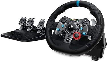 Logitech G29 Driving Force Gaming racestuur, tweemotor, Force Feedback, 900 graden stuurbereik, lederen stuurwiel, verstelbare roestvrijstalen vloerpedalen, PS4/PS3/PC/Mac - UK-stekker, zwart