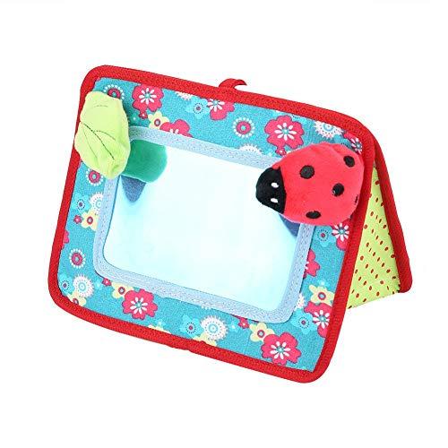 Spjälsäng och golv aktivitet spegel leksak, säker skalbagge ring-ner bebis kognitiv spegel barnvagn hängande leksak