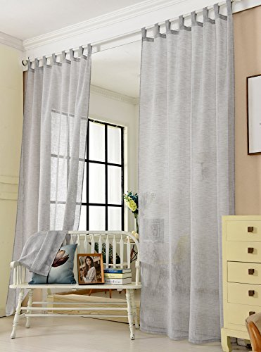 Laneetal Woven Voile Sheer Curtains Tab Top Bedroom Living Room Window Curtains in Light Grey Linen Look 2 Panels W55 x L69 Inch