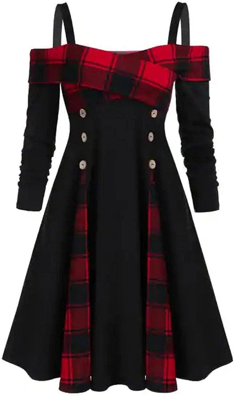 Kcocoo Women's Dresses Long Sleeves Plaid/Lace Patchwork Retro Maxi Dress Casual Empire Waist Button Rached Flowy Guest Dress