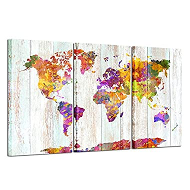 Kreative Arts - Large Size Canvas Prints Wall Art Watercolor Push Pin Travel World Map Modern Wall Decor Stretched Gallery Canvas Wrap Giclee Print Ready to Hang Home Decoration