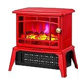 XIANGAI Calefactor Calentador Estufa Eléctrica - Anafe con Estufa de leña Llama Efecto - Chimenea Estufa Calentador Interno -1500W Rojo, Color: Blanco (Color : Red)