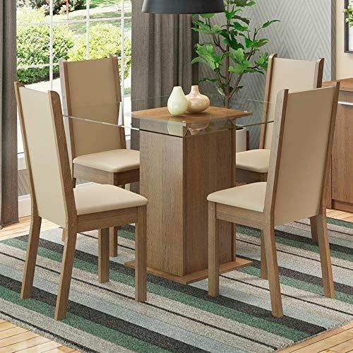 Conjunto Sala de Jantar Madesa Aline Mesa Tampo de Vidro com 4 Cadeiras