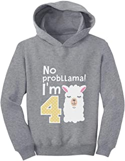 Tstars Gift for 4 Year Old Girl No Probllama 4th Birthday Toddler Hoodie