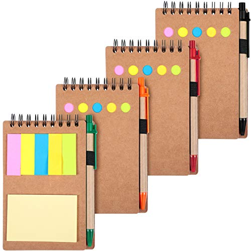 4 Pieces Spiral Notebook Business Notepad with Pens, Sticky Notes Index Tabs Holders Marker Colored Memo Notebooks, 5.7 x 3.9 Inch, 280 Sheets Lined Blank Pages (Paper Color)