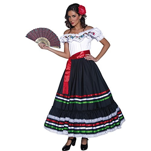 Amakando Ropa señorita Disfraz Flamenca M 40/42 Ropa andaluza Vestimenta Western de Mujer Vestido bailaora Carmen Atuendo Gitana Carnaval