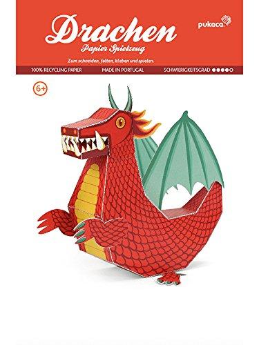 POWERHAUS24 Roter Drache, Bastelvorlage Fabelwesen, Papier Spielzeug zum Basteln & Spielen