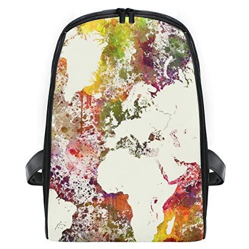 LUPINZ Rucksack mit Wasserfarbe, Weltkarte, extra klein, freundlich, langlebig, Reiserucksack für Schule, Büchertasche