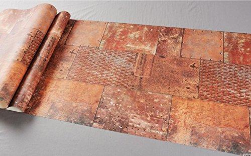 Metal industriel personnalisé vent fer à repasser papier peint bars cafés restaurants magasins de vêtements rétro papier rouge brun