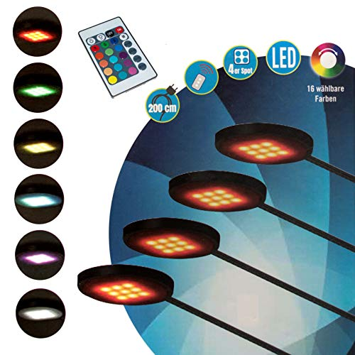 (4er Spots/Fernbedienung) RGB LED Unterbauspots, Fernbedienung, 16 Farben, Beleuchtungsspots, Unterbauleuchte…