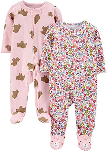 Simple Joys by Carter s Girls 2 Pack Cotton Footed Sleep and Play Pink Bears Floral 3 6 Months product image