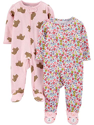 Simple Joys by Carter's 2-Pack Cotton Footed Sleep Play Infant-and-Toddler-Bodysuit-Footies, Osos Rosados/Floral, 6-9 Meses, Pack de 2