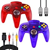 ZeroStory Classic N64 Controller, Wired N64 Controller Joystick with 5.9 Ft N64 AV Cable for N64 Video Game Console (Transparent Red and Transparent Blue)