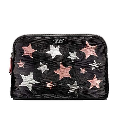 Victorias Secret Bag Wristlet Cosmetic organizer Black Stars Sequins