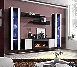 Moderner Wohnwand Kim mit Bio Kamin Anbauwand Schrankwand Weiß Schwarz 21 (Schwarz+Weiß)